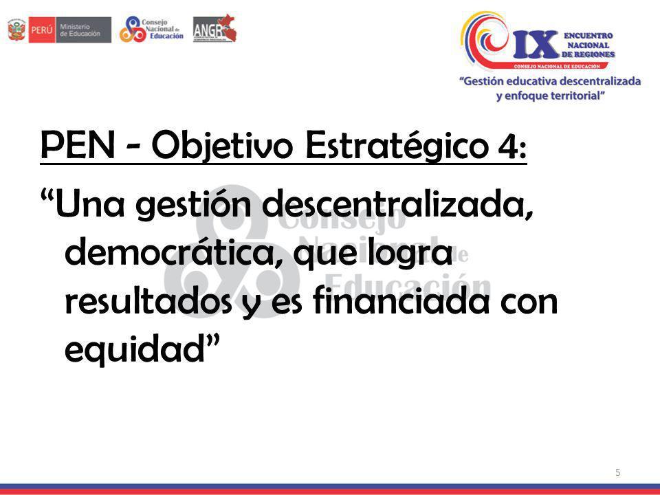 PEN - Objetivo Estratégico 4: Una gestión descentralizada, democrática, que logra resultados y es financiada con equidad
