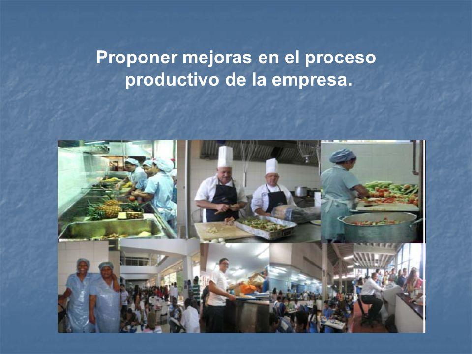 Proponer mejoras en el proceso productivo de la empresa.