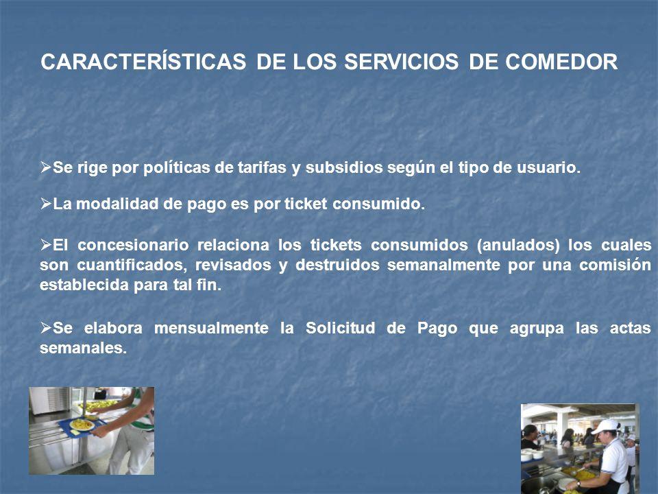 CARACTERÍSTICAS DE LOS SERVICIOS DE COMEDOR