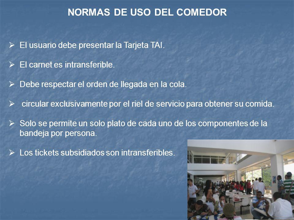 NORMAS DE USO DEL COMEDOR
