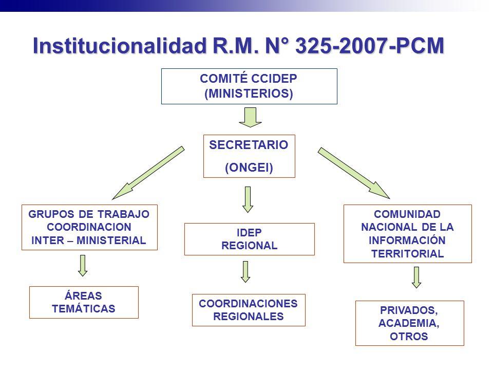 Institucionalidad R.M. N° 325-2007-PCM