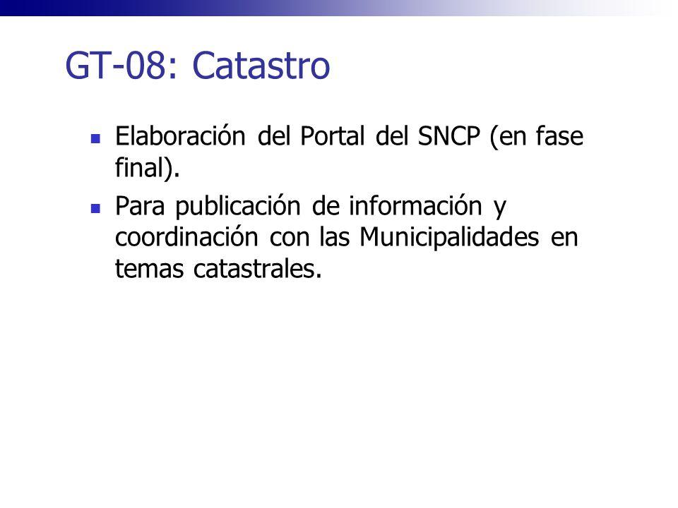GT-08: Catastro Elaboración del Portal del SNCP (en fase final).