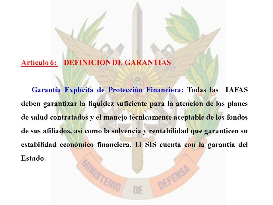Artículo 6: DEFINICION DE GARANTIAS