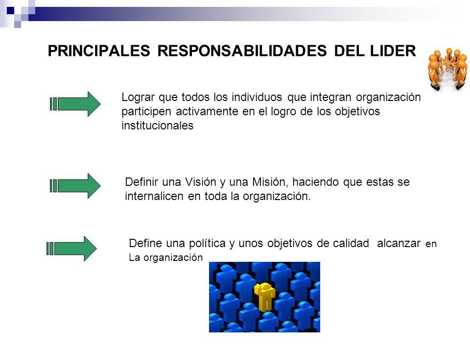PRINCIPALES RESPONSABILIDADES DEL LIDER