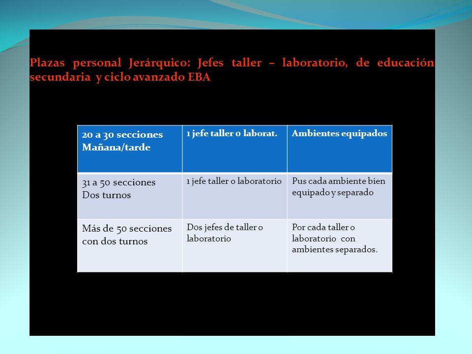 Plazas personal Jerárquico: Jefes taller – laboratorio, de educación secundaria y ciclo avanzado EBA