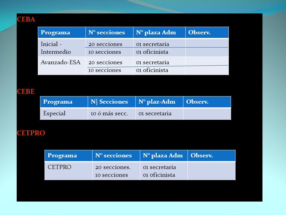 CEBA CEBE CETPRO Programa N° secciones N° plaza Adm Observ.