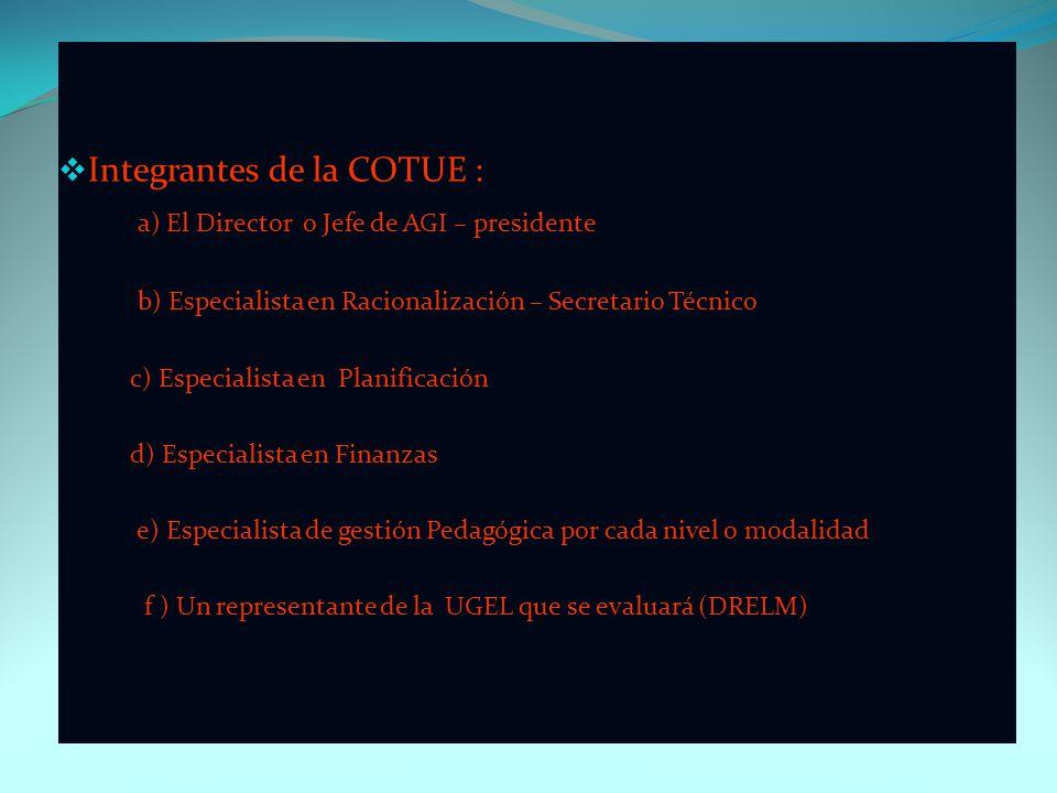 Integrantes de la COTUE : a) El Director o Jefe de AGI – presidente