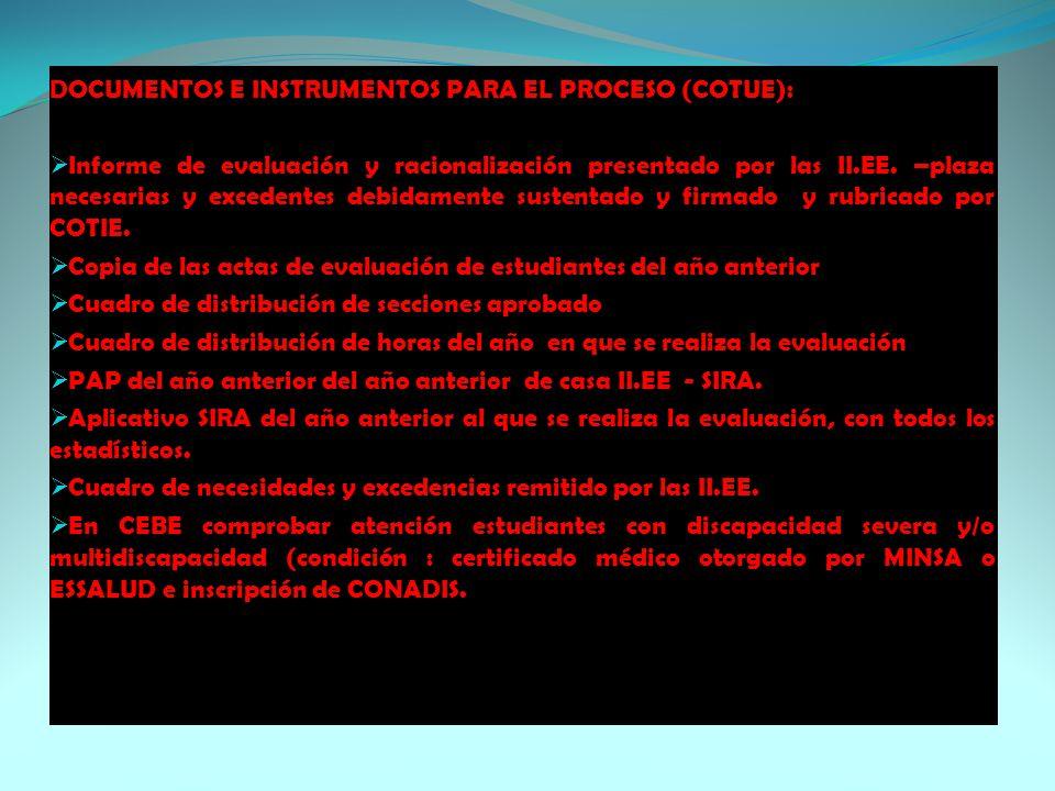 DOCUMENTOS E INSTRUMENTOS PARA EL PROCESO (COTUE):