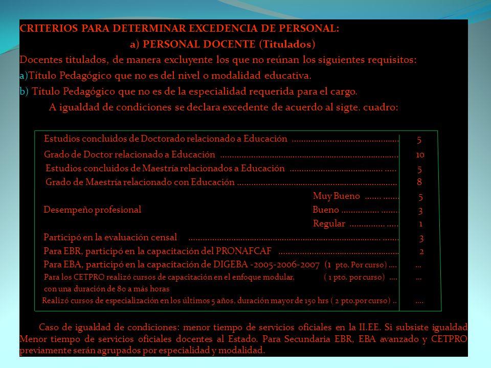 CRITERIOS PARA DETERMINAR EXCEDENCIA DE PERSONAL: