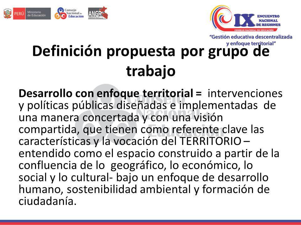 Definición propuesta por grupo de trabajo