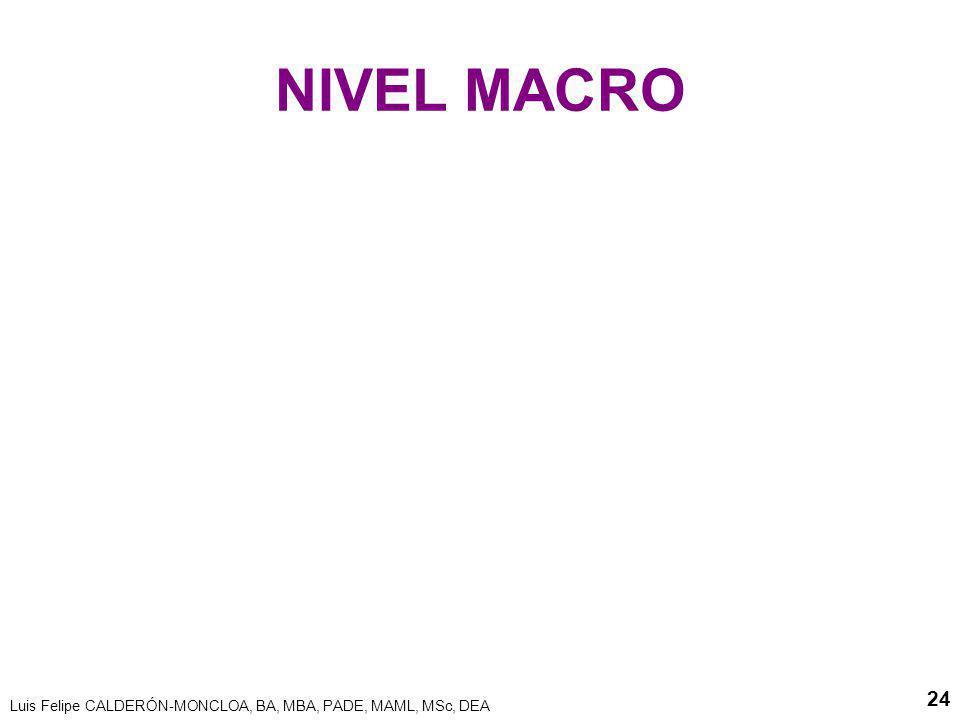 NIVEL MACRO Luis Felipe CALDERÓN-MONCLOA, BA, MBA, PADE, MAML, MSc, DEA