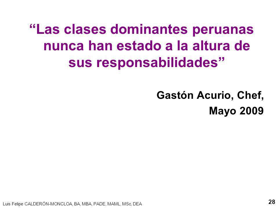 Las clases dominantes peruanas nunca han estado a la altura de sus responsabilidades