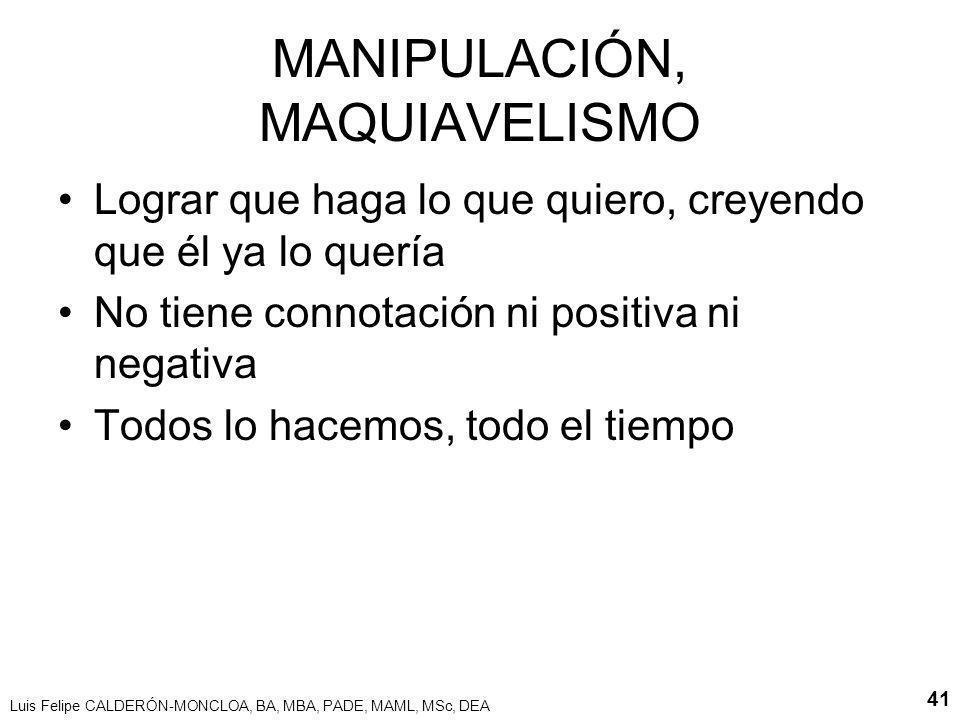 MANIPULACIÓN, MAQUIAVELISMO