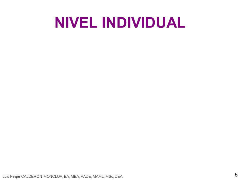 NIVEL INDIVIDUAL Luis Felipe CALDERÓN-MONCLOA, BA, MBA, PADE, MAML, MSc, DEA