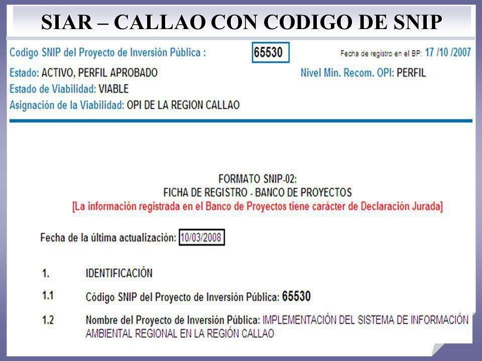 SIAR – CALLAO CON CODIGO DE SNIP