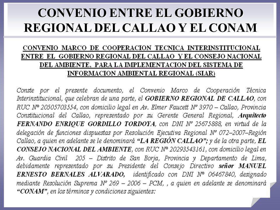 CONVENIO ENTRE EL GOBIERNO REGIONAL DEL CALLAO Y EL CONAM