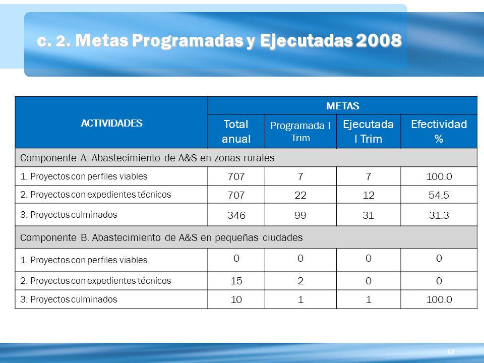 c. 2. Metas Programadas y Ejecutadas 2008