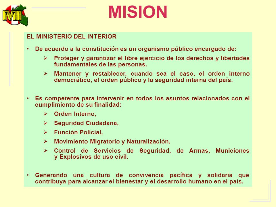 MISION EL MINISTERIO DEL INTERIOR