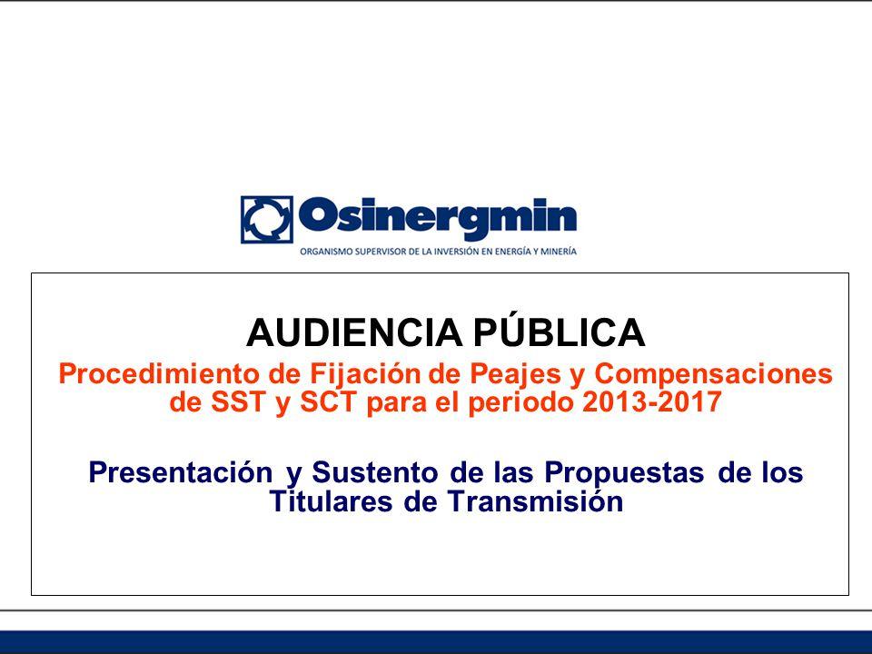 AUDIENCIA PÚBLICA Procedimiento de Fijación de Peajes y Compensaciones de SST y SCT para el periodo 2013-2017.