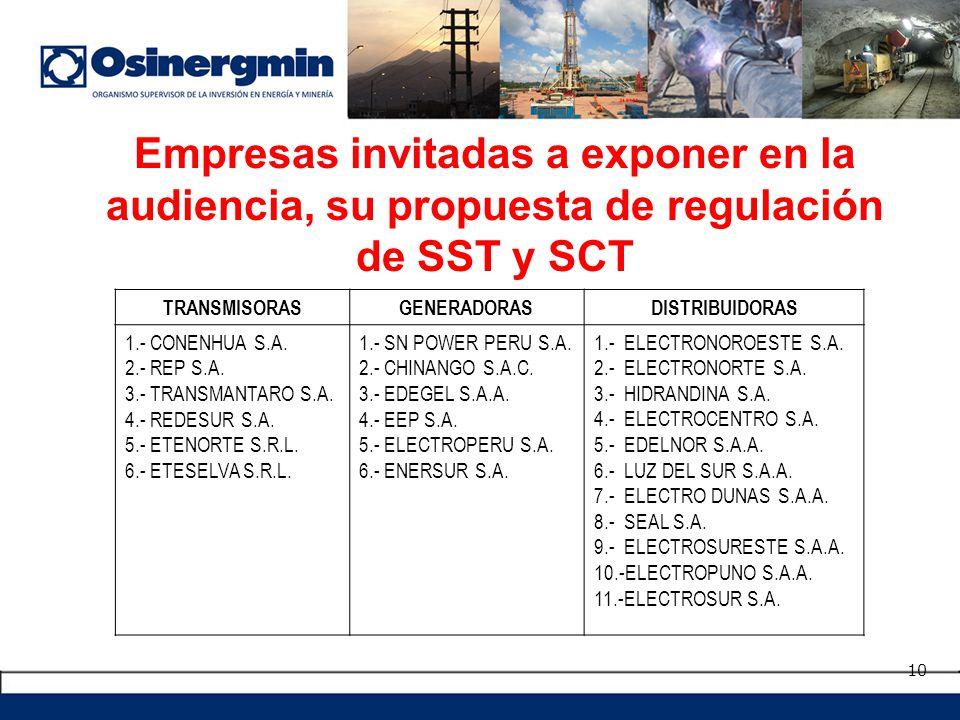 Empresas invitadas a exponer en la audiencia, su propuesta de regulación de SST y SCT