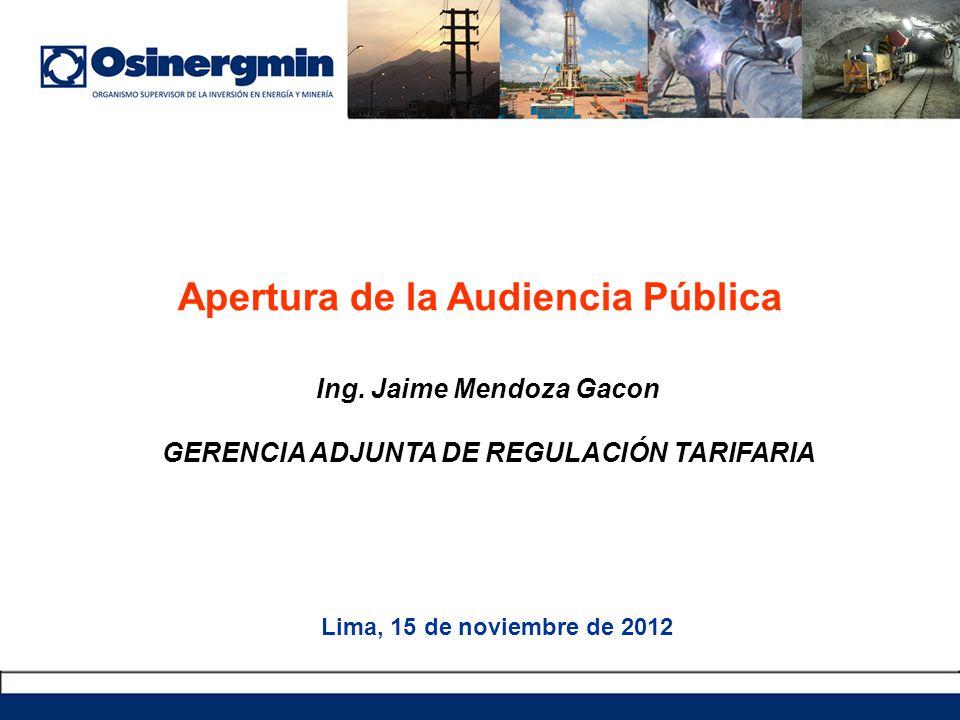Ing. Jaime Mendoza Gacon GERENCIA ADJUNTA DE REGULACIÓN TARIFARIA