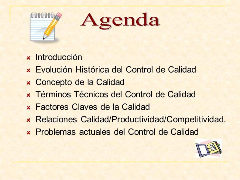 Agenda Introducción Evolución Histórica del Control de Calidad