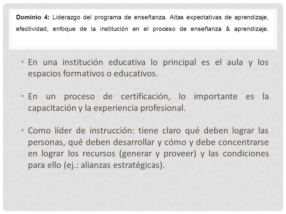 Dominio 4: Liderazgo del programa de enseñanza
