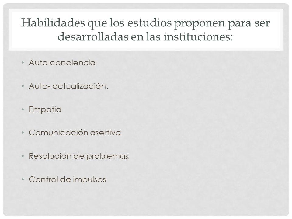 Habilidades que los estudios proponen para ser desarrolladas en las instituciones: