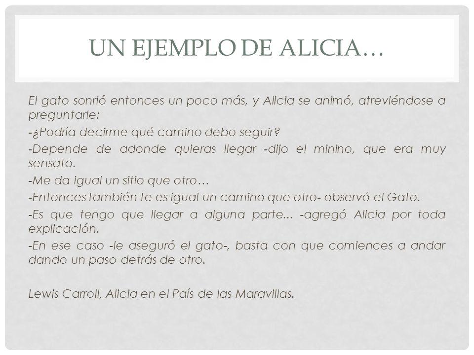 UN EJEMPLO DE ALICIA… El gato sonrió entonces un poco más, y Alicia se animó, atreviéndose a preguntarle: