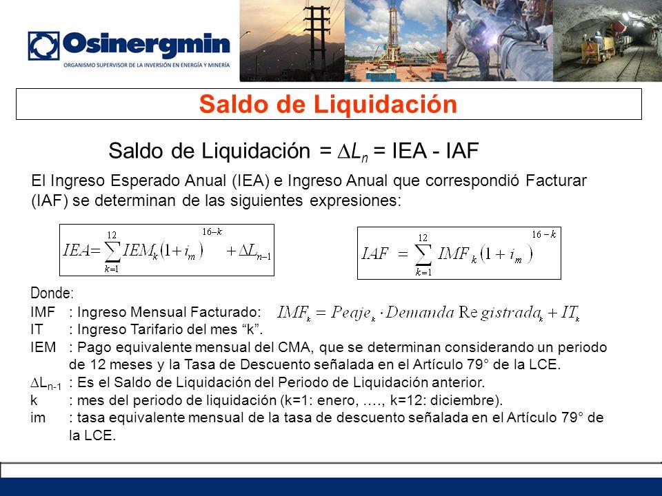 Saldo de Liquidación Saldo de Liquidación = ∆Ln = IEA - IAF