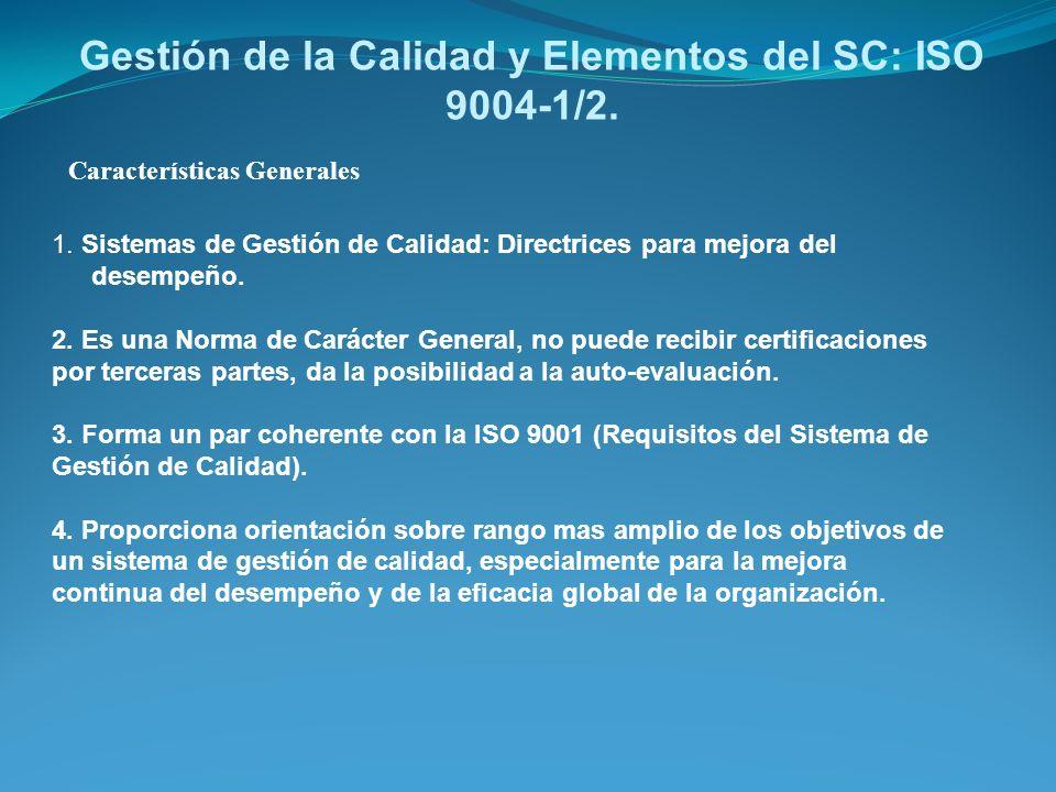 Gestión de la Calidad y Elementos del SC: ISO 9004-1/2.