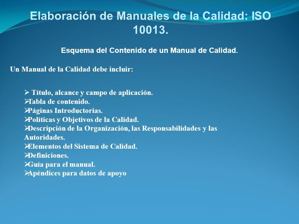 Elaboración de Manuales de la Calidad: ISO 10013.