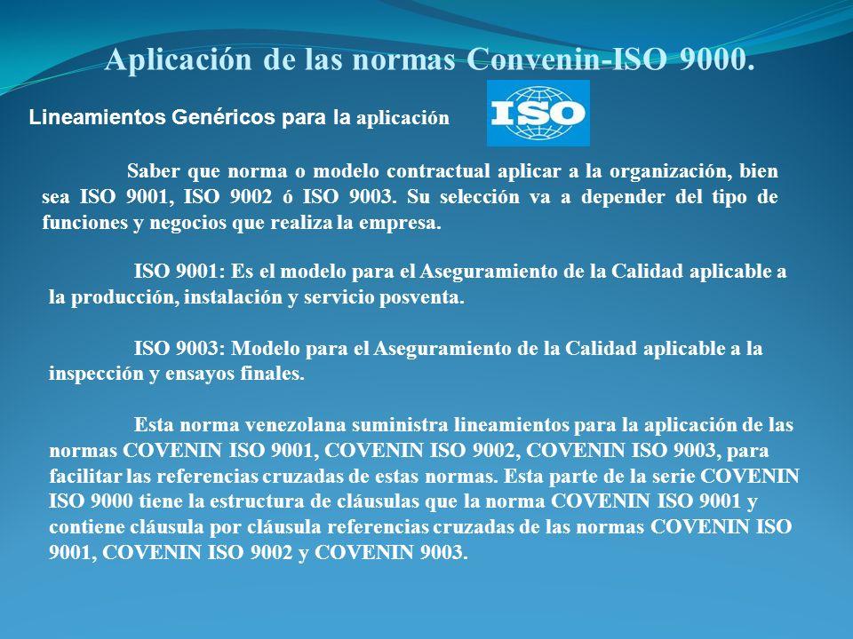 Aplicación de las normas Convenin-ISO 9000.
