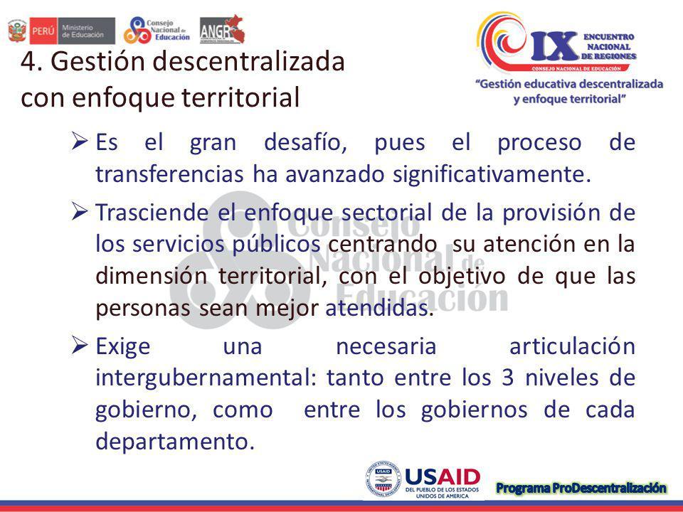 4. Gestión descentralizada con enfoque territorial