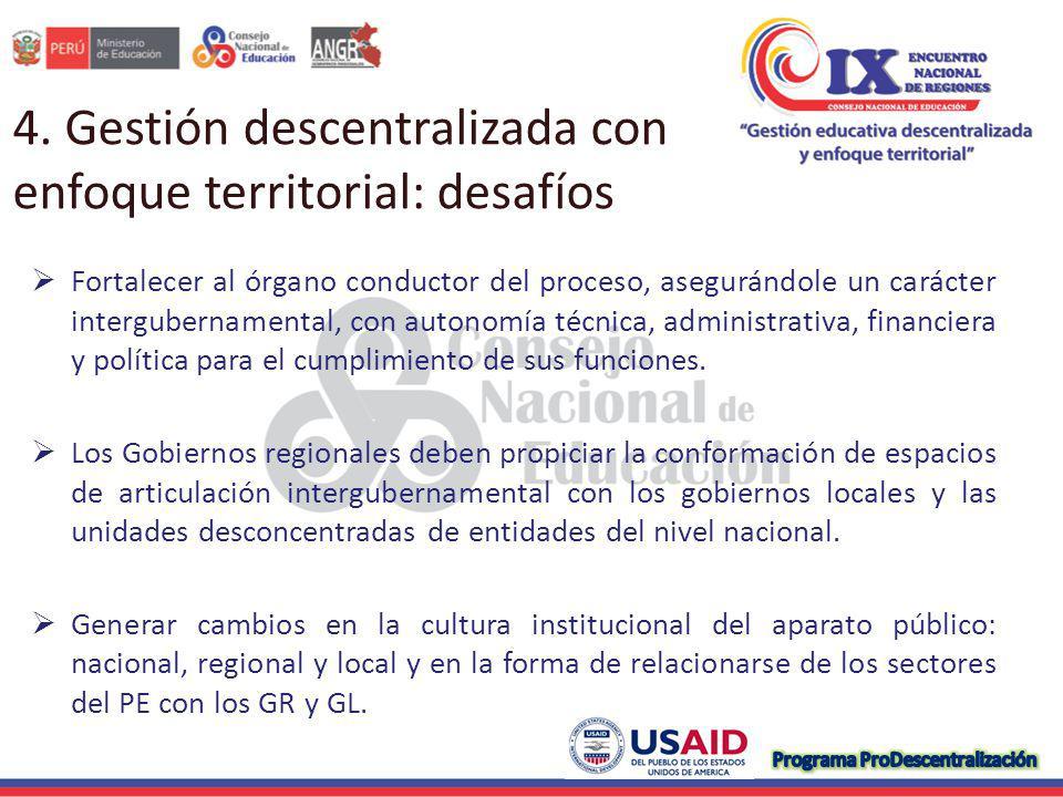 4. Gestión descentralizada con enfoque territorial: desafíos