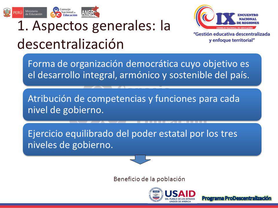1. Aspectos generales: la descentralización