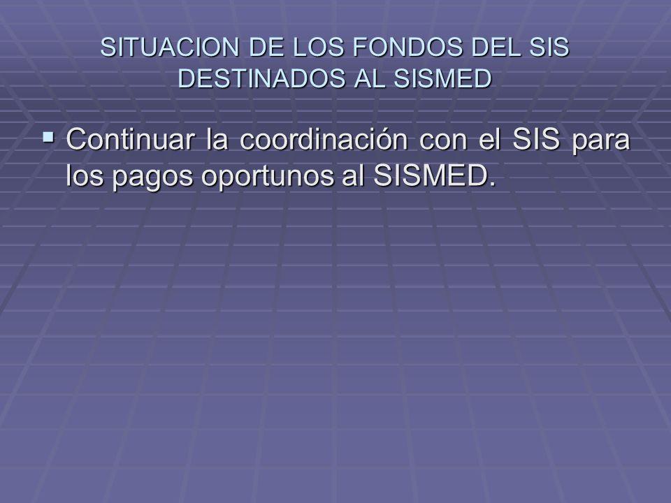SITUACION DE LOS FONDOS DEL SIS DESTINADOS AL SISMED
