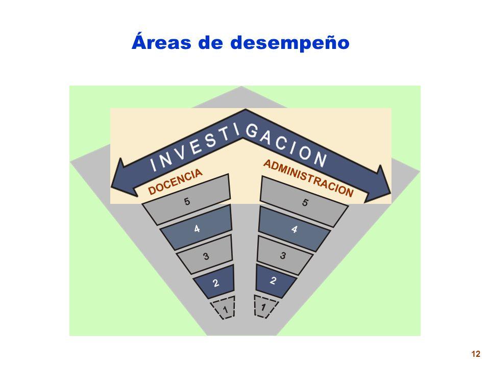 Áreas de desempeño DOCENCIA ADMINISTRACION