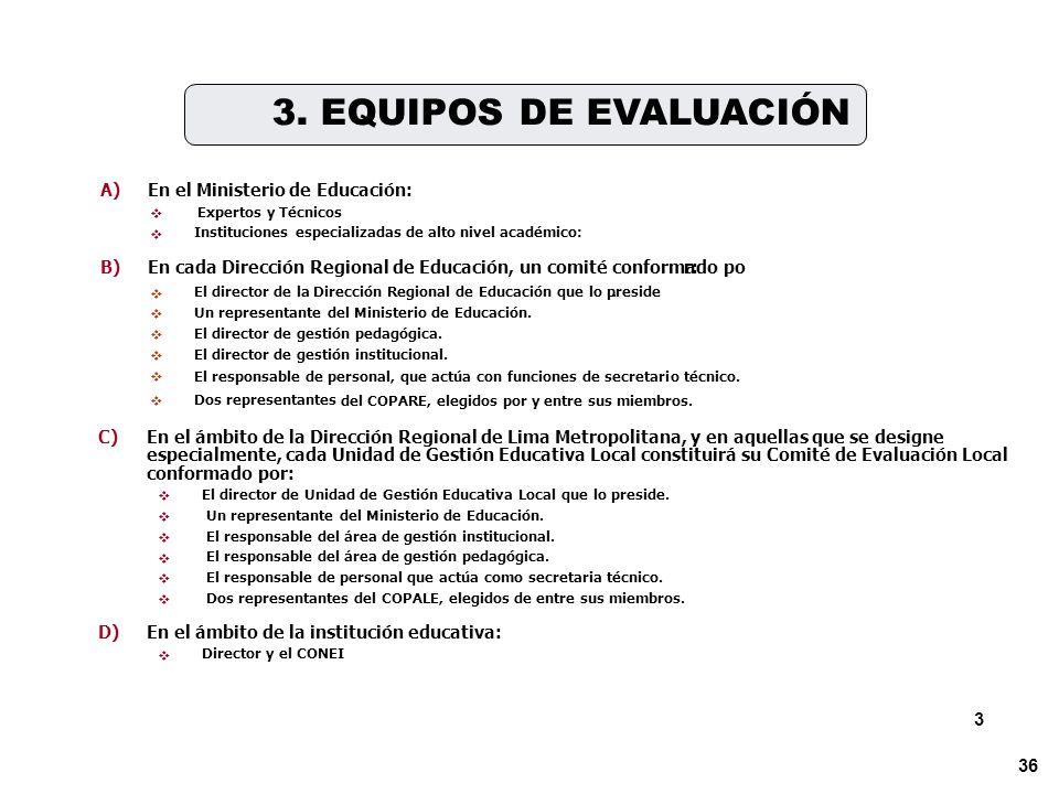 3. EQUIPOS DE EVALUACIÓN 3 A) En el Ministerio de Educación: B)