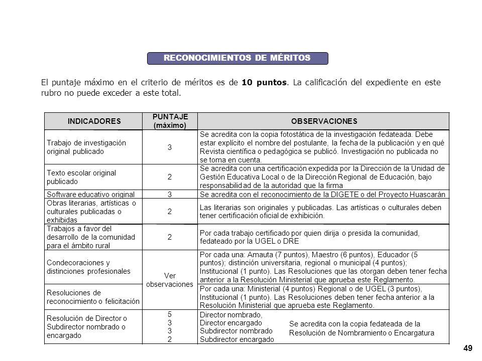 RECONOCIMIENTOS DE MÉRITOS