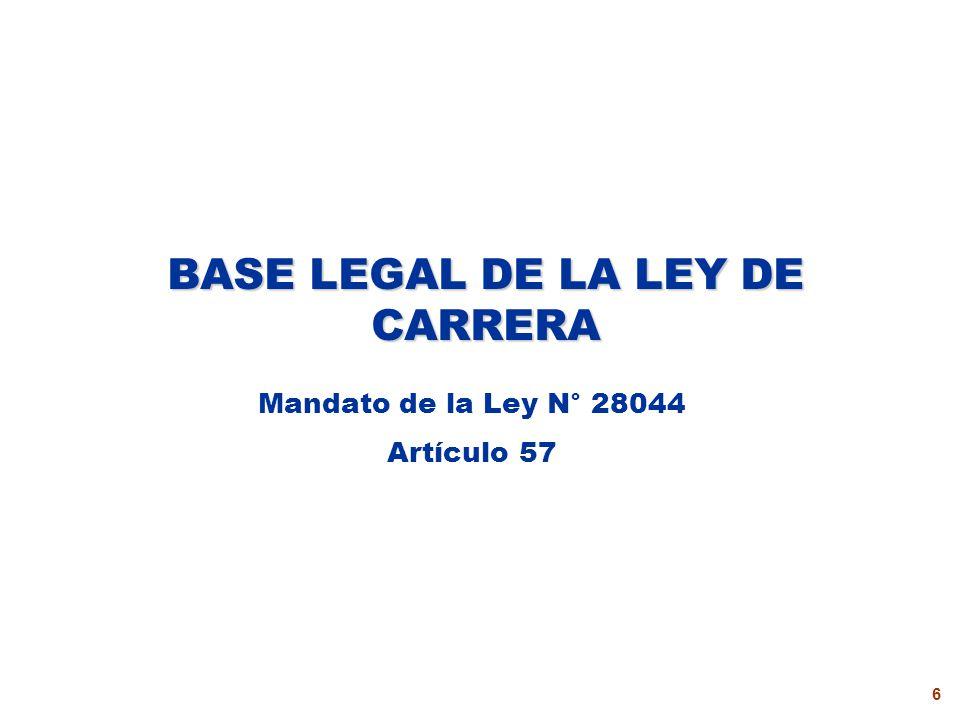BASE LEGAL DE LA LEY DE CARRERA