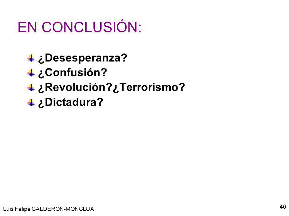EN CONCLUSIÓN: ¿Desesperanza ¿Confusión ¿Revolución ¿Terrorismo