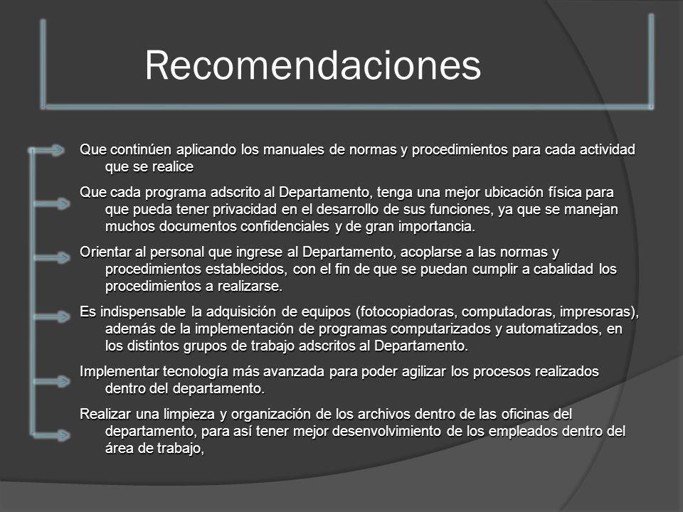 RecomendacionesQue continúen aplicando los manuales de normas y procedimientos para cada actividad que se realice.
