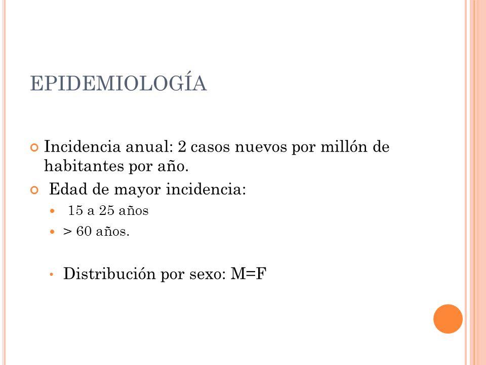 EPIDEMIOLOGÍA Incidencia anual: 2 casos nuevos por millón de habitantes por año. Edad de mayor incidencia: