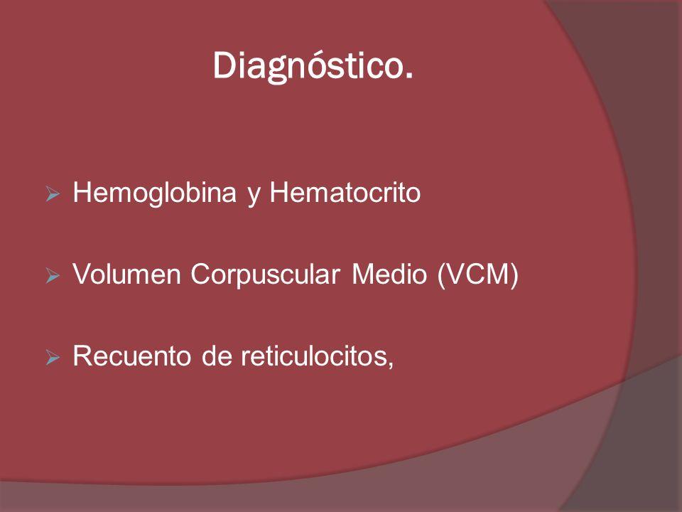Diagnóstico. Hemoglobina y Hematocrito Volumen Corpuscular Medio (VCM)