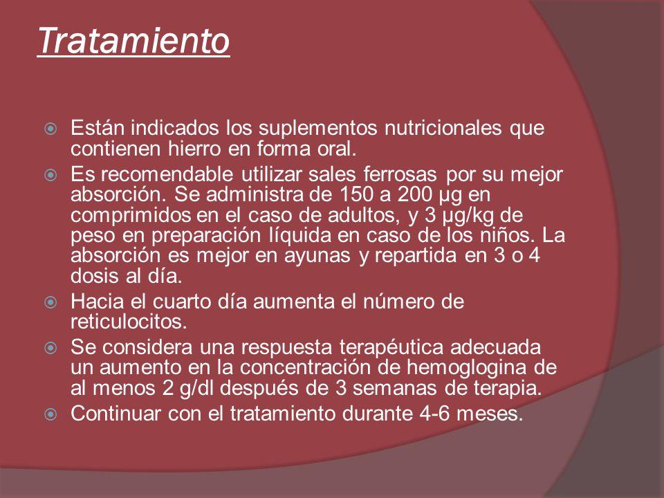 Tratamiento Están indicados los suplementos nutricionales que contienen hierro en forma oral.