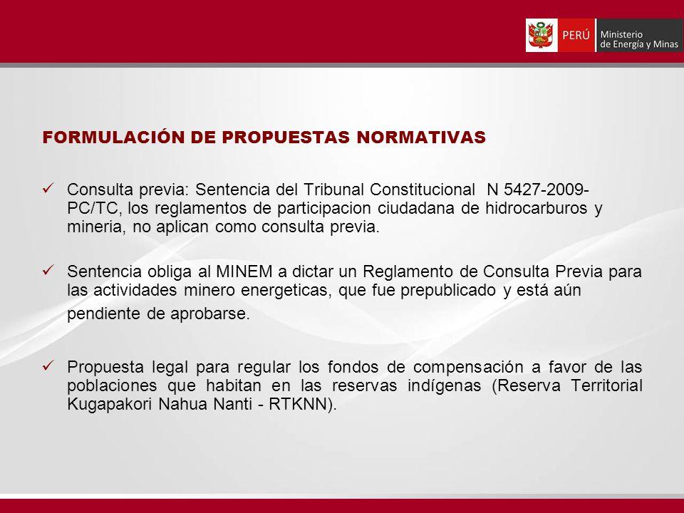 FORMULACIÓN DE PROPUESTAS NORMATIVAS