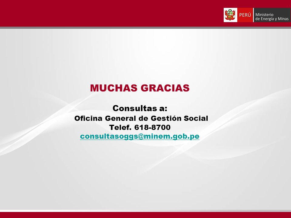MUCHAS GRACIAS Consultas a: Oficina General de Gestión Social Telef