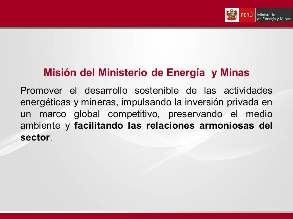 Misión del Ministerio de Energía y Minas