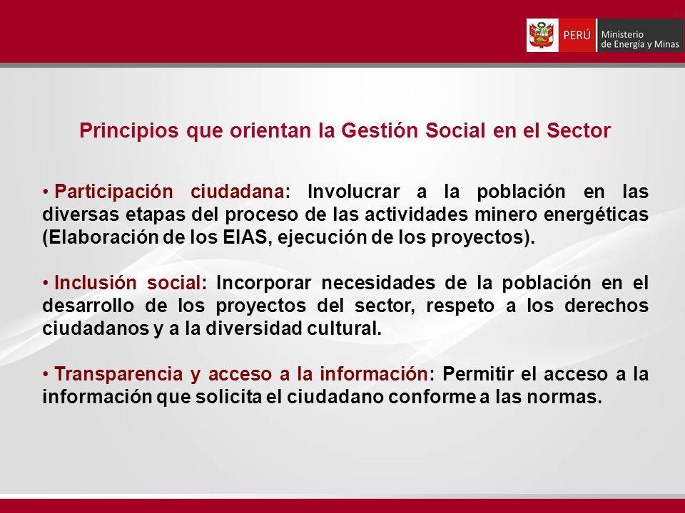 Principios que orientan la Gestión Social en el Sector